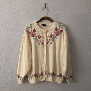 Vintage Cottage Core Floral Sweater Cardigan Frill